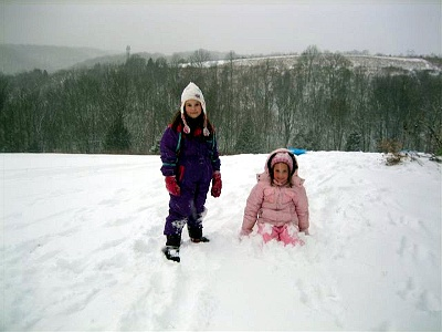 The kids in snow