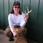 Tracy and dog, Crystal, with antler shed