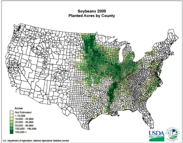 Planted soybean acres by county
