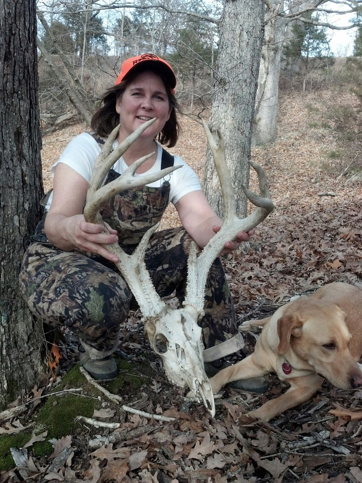 Shed hunter shows the skull and antlers from a big buck that died from EHD