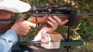 Grant practices for deer season using a Nikon scope