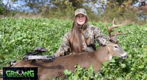 Raleigh tagged her first buck with a bow.