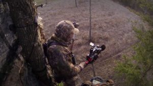 Self filming a deer hunt.