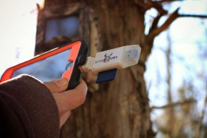 Using BoneView to check a trail camera in the field.