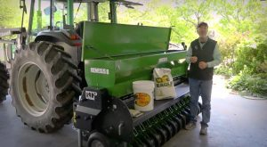 Grant explains how to calibrate a no-till drill.
