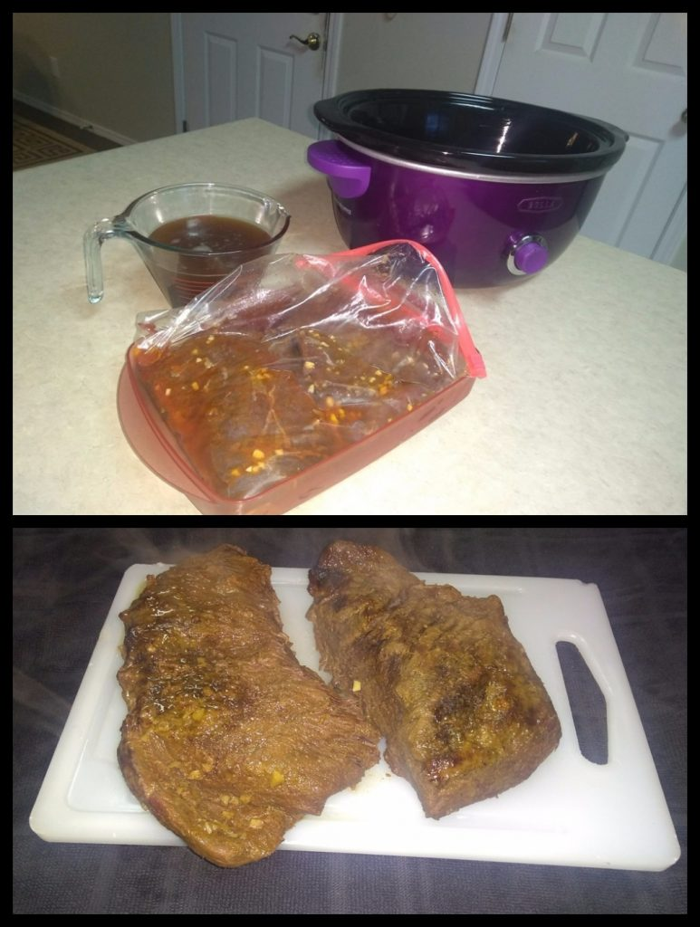 Marinated venison roast before and after cooking