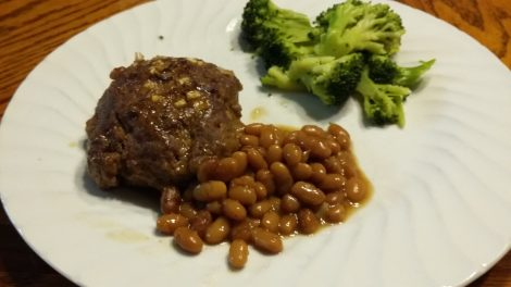 Venison meatloaf with baked beans
