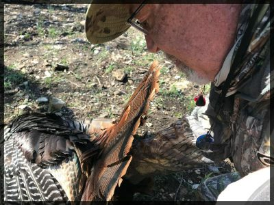 Grant wears Wildear hearing protection when turkey hunting