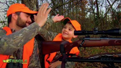 A father and son go deer hunting together