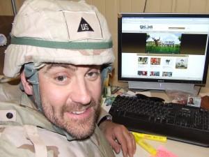 C.J. Winand in Afghanistan viewing GrowingDeer.tv