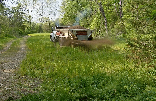 Fertilizer for white-tailed deer forage crops being spread