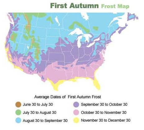 """First Autumn Frost Map for Planning Deer Hunts"