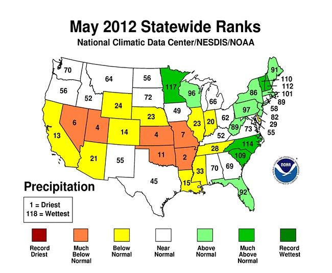 2012 United States Precipitation Ranking
