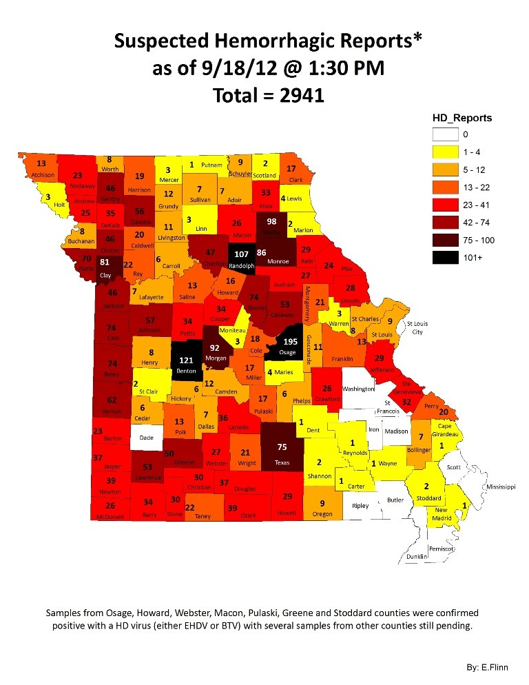 Missouri State Map Showing by County the reported EHD Cases for 2012