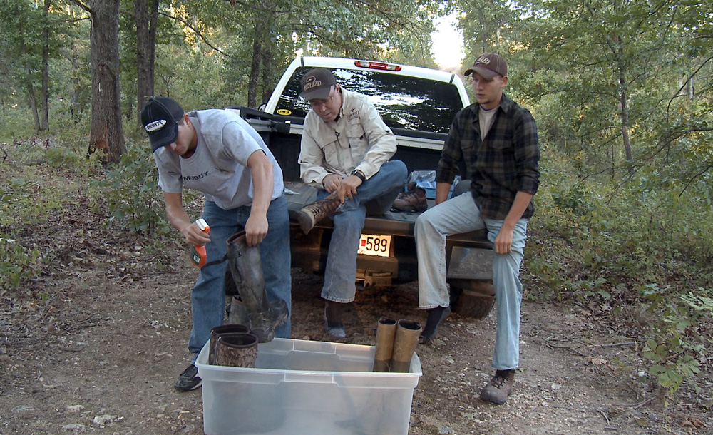 Hunters apply Dead Down Wind's ScentPrevent to boots before going hunting.