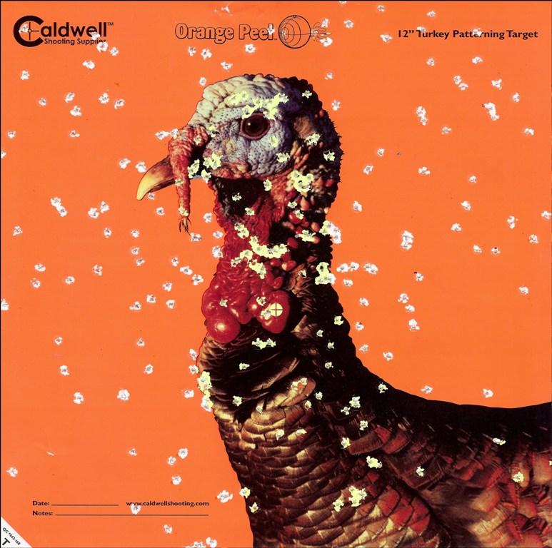 Shot up paper Turkey Target from patterning a shotgun prior to turkey season