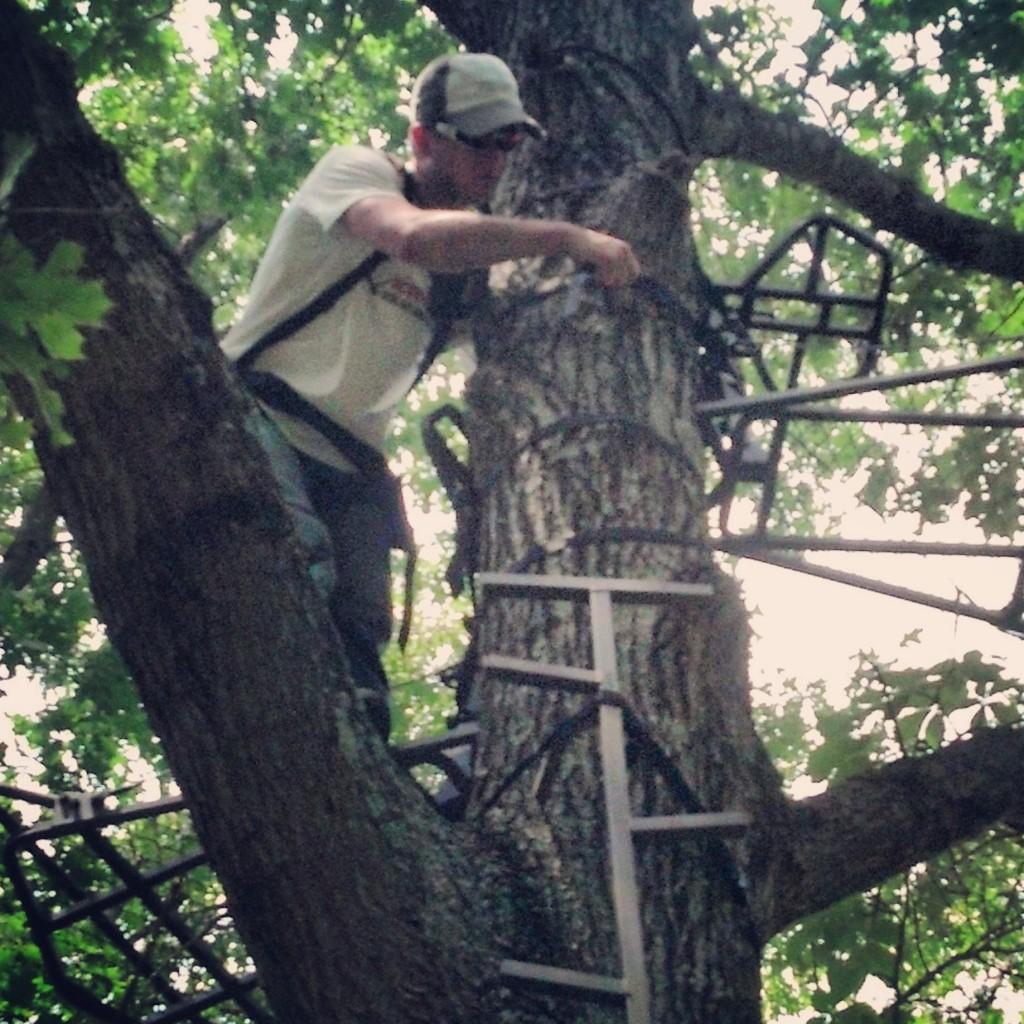 Adam hangs a Muddy tree stand