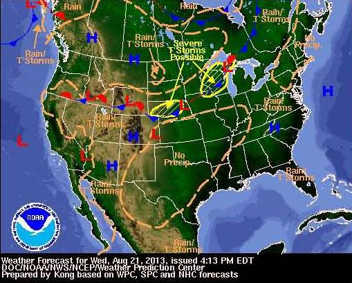 United States forecast map from the NWS
