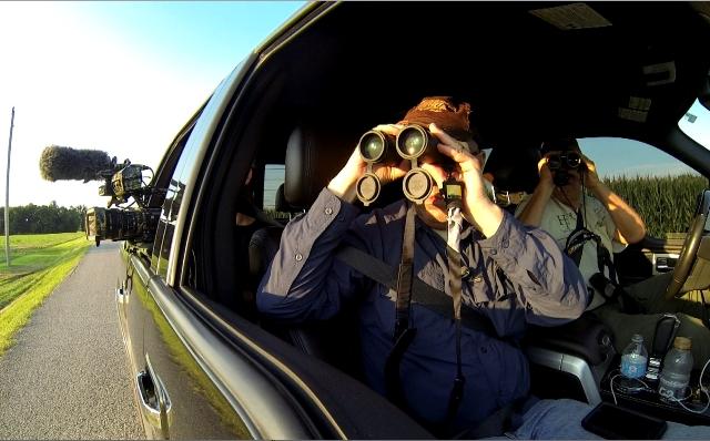 Using Nikon binoculars to scout deer in bean field