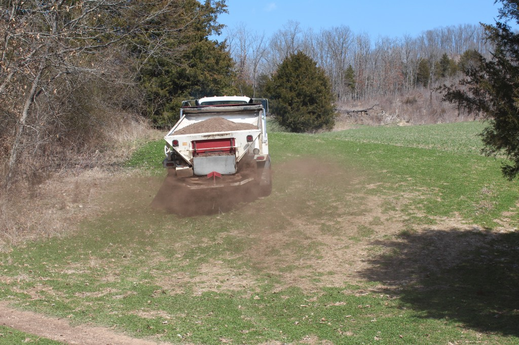 A spreader truck applying Antler Dirt at The Proving Grounds earlier this week.