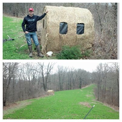 Adam with a Hay Bale Blind setup on a clover plot for youth season.