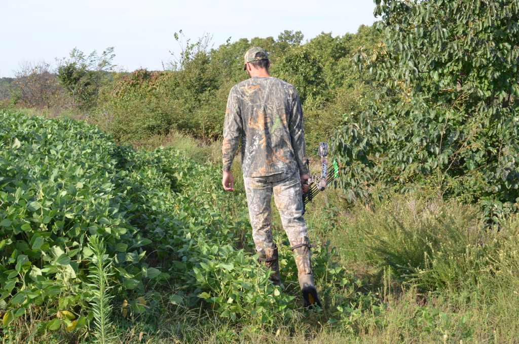 Hunter walking to a treestand