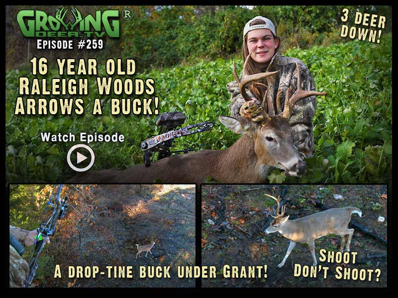 Raleigh Woods arrows her first buck ever in GrowingDeer.tv episode #249.