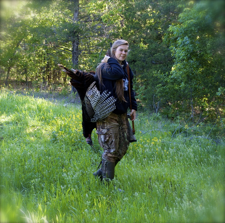 Turkey hunter Raleigh Woods with her gobbler