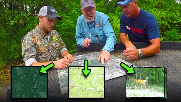 Grant reviews a hunting property map with a client.