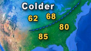 Map showing a cold front.
