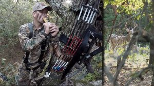 Adam uses a Messenger grunt call while in a stand.
