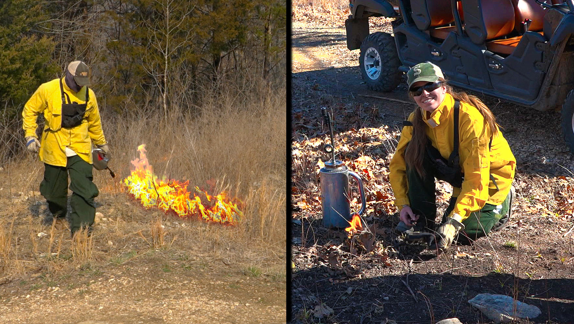 Interns help the GrowingDeer Team with a prescribed fire