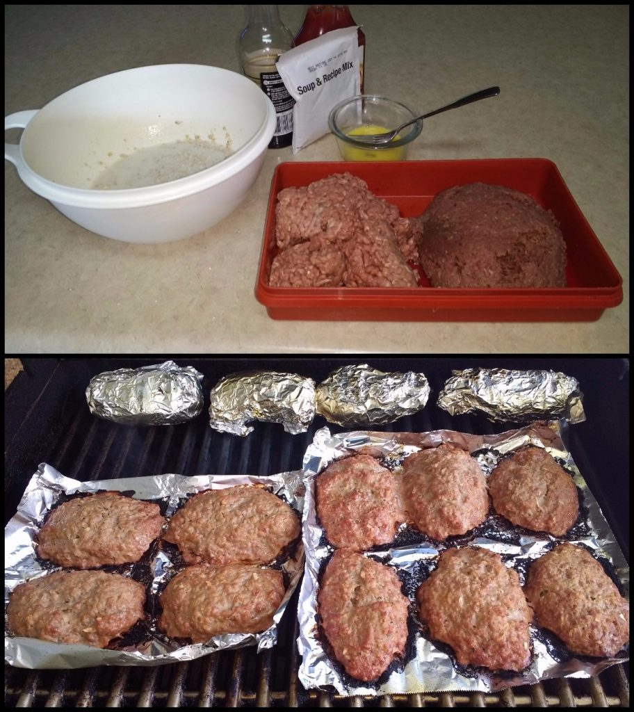 Ingredients for and final product of venison mini meatloaves