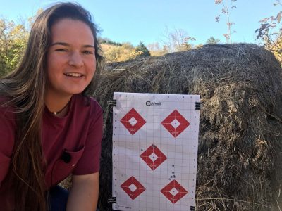 Rae Woods with her Caldwell practice target