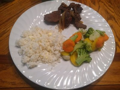 Sweet n sour venison with rice and veggies