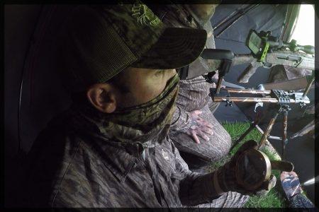 Hunter uses a slate turkey call