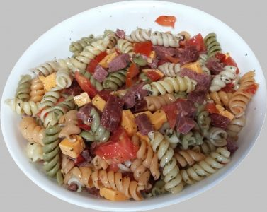 Pasta salad made with venison summer sausage