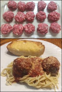 Spaghetti with venison meatballs