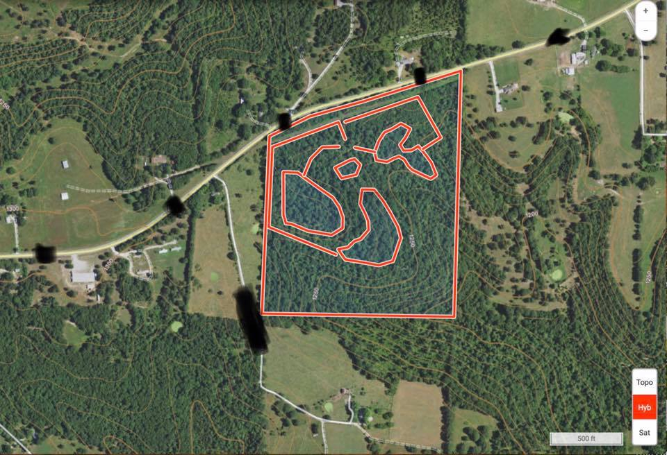 OnX map marked with food plots and trails for access
