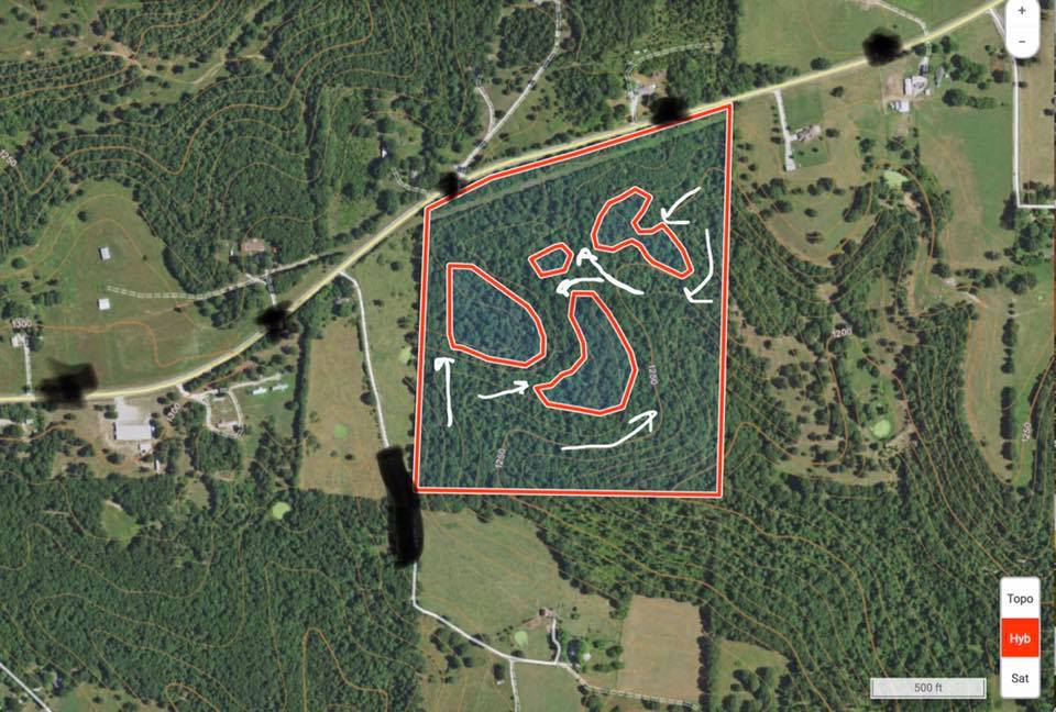 OnX map with future food plots marked out