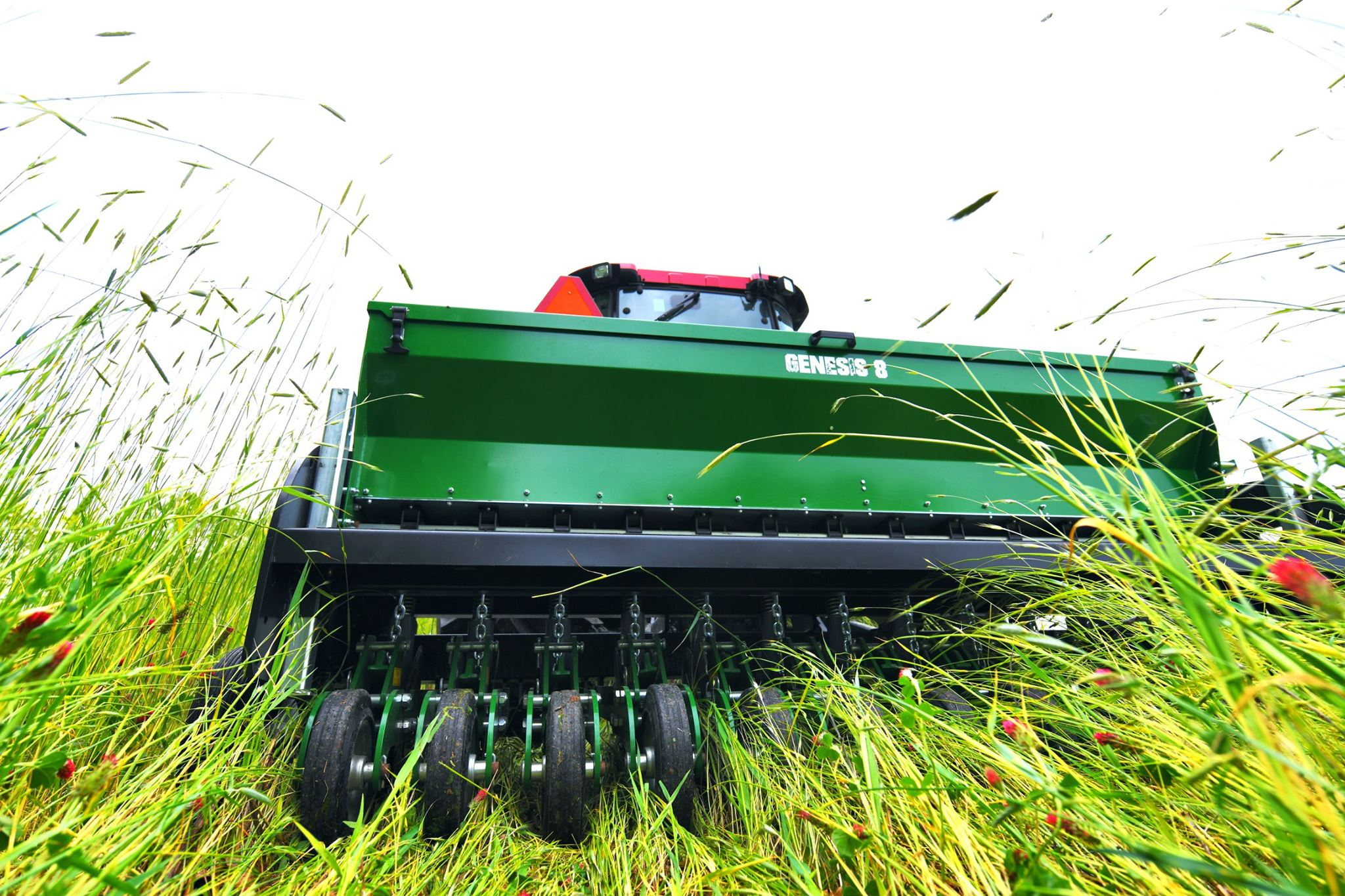 Genesis drill planting into standing greens in a food plot