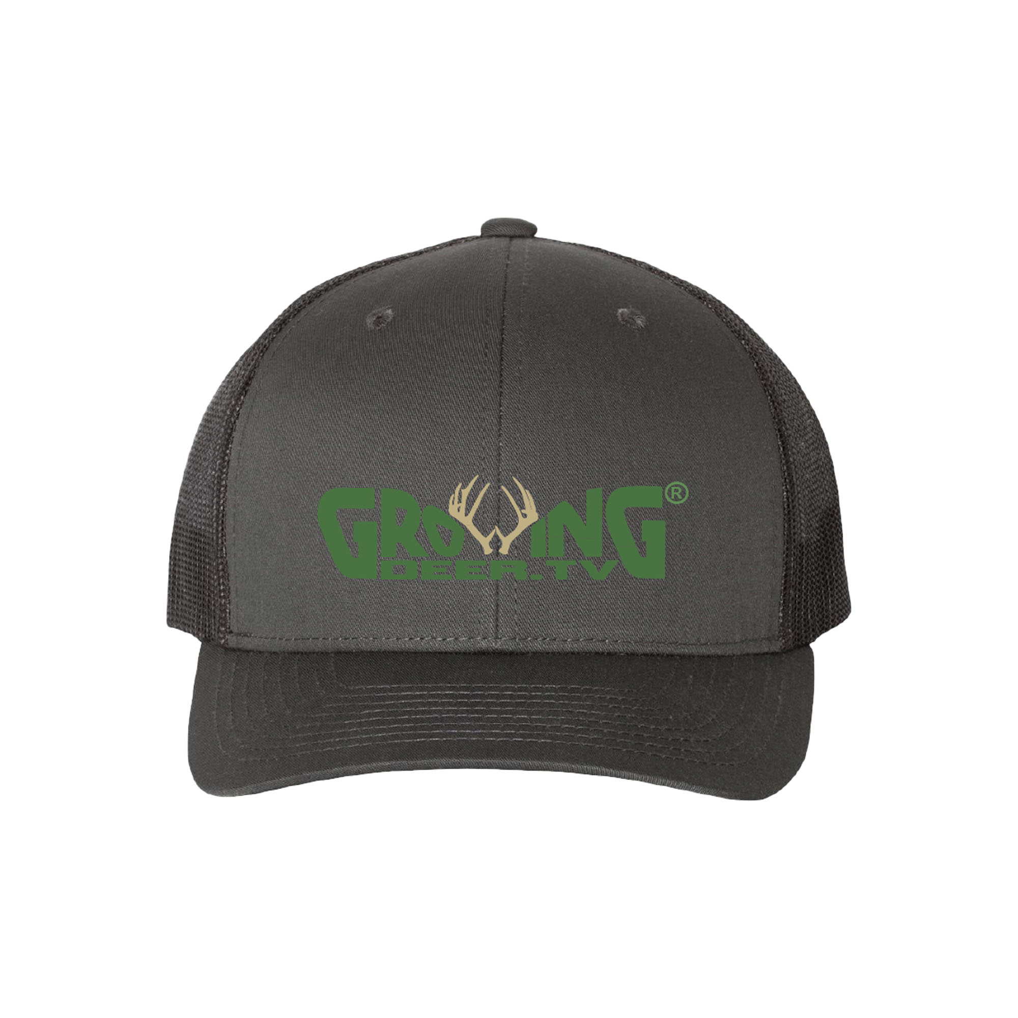 Charcoal Gray/Black, Structured, mid-profile, six-panel Retro Trucker Cap with Permacurv visor, matching undervisor, amesh back with a Snapback closure. Made with 65/35 polyester/ cotton.