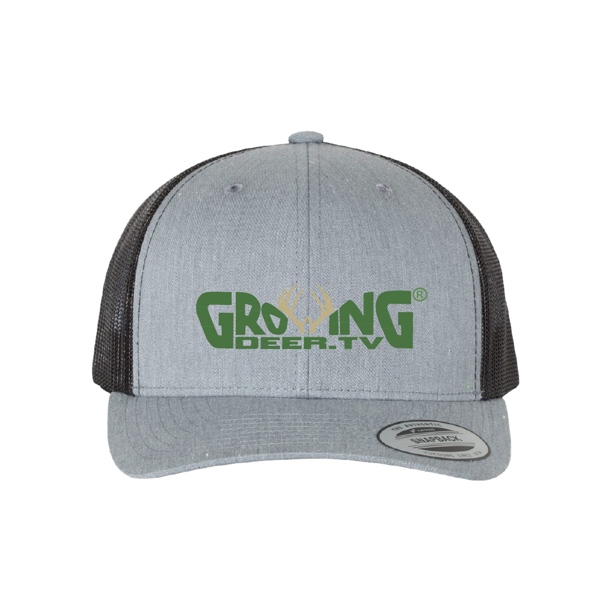 Heather Gray/Black Structured, mid-profile, six-panel Retro Trucker Cap with Permacurv Visor Matching undervisor, a mesh back with asnapback closure. It is made with 65/35 polyester/ cotton.